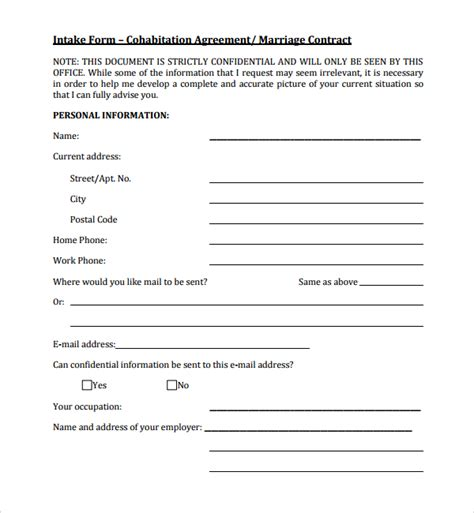 cohabitation contract template sle cohabitation agreement 6 documents in word pdf