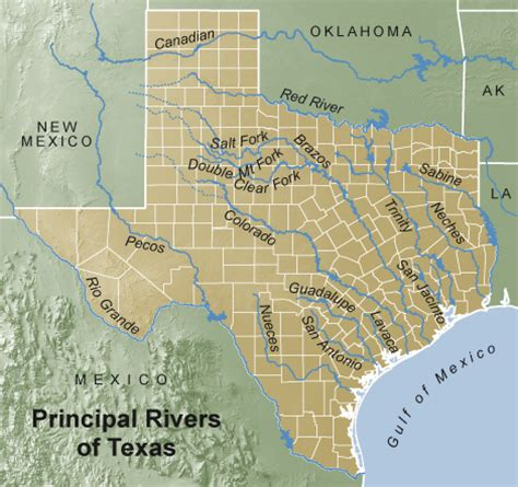 major rivers of texas map geography of river county texas