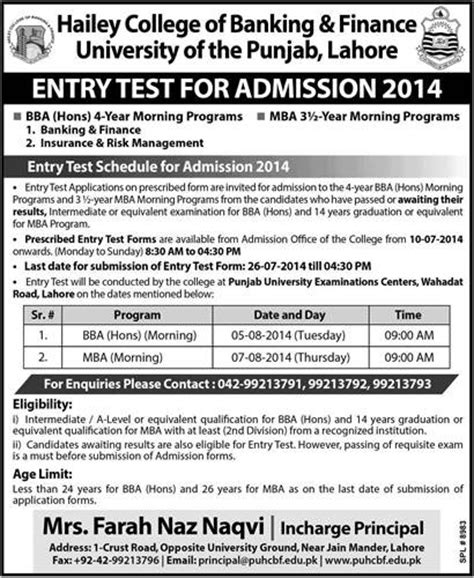 Mba In Lahore College by Admissions Open 2014 Entry Test In Hailey College Of