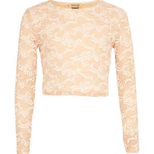 light pink lace crop top from river island
