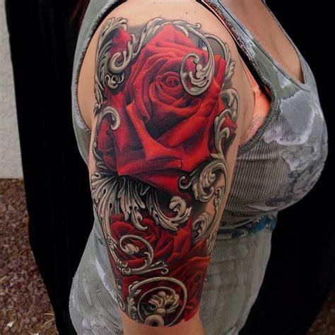 dark red rose tattoos and black tattoos