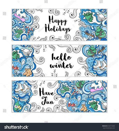 doodle templates winter doodle templates set colorful background stock