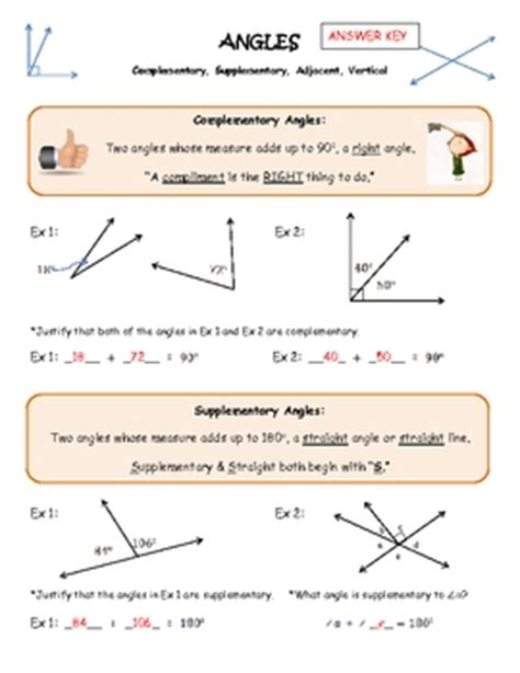 Complementary And Supplementary Angles Worksheets by Angles Complementary Supplementary Vertical Adjacent