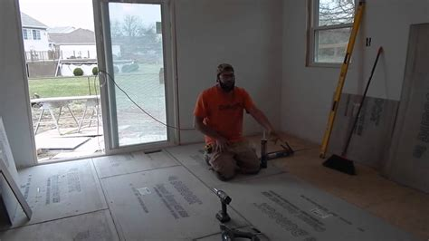 Installing Cement Board On Floor by Installing Cement Board Subfloor Prepping For Tile Floor