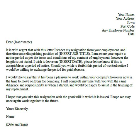 resignation letter due to illness uk formal resignation letter with unknown notice learnist org