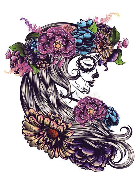 sugar skull girl  flower crown stock illustration