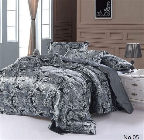 California King Quilt Bedding Sets Aliexpress Buy 7pcs Silver Grey Paisley Silk Satin Bedding Sets California King Quilt