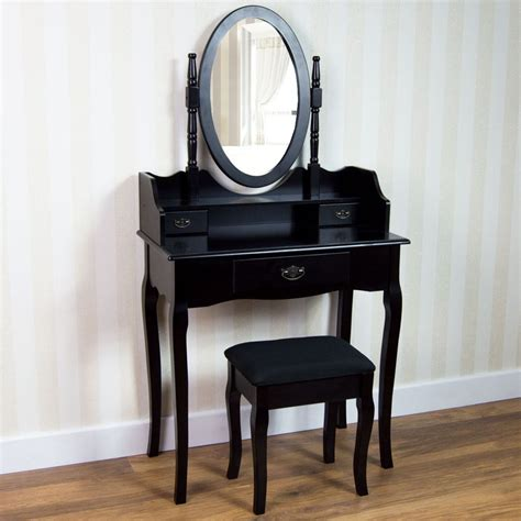 bedroom makeup table nishano dressing table 3 drawer stool black mirror bedroom