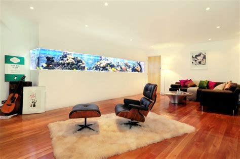 White And Black Living Room by 100 Ideas Integrate Aquarium Designs In The Wall Or In The