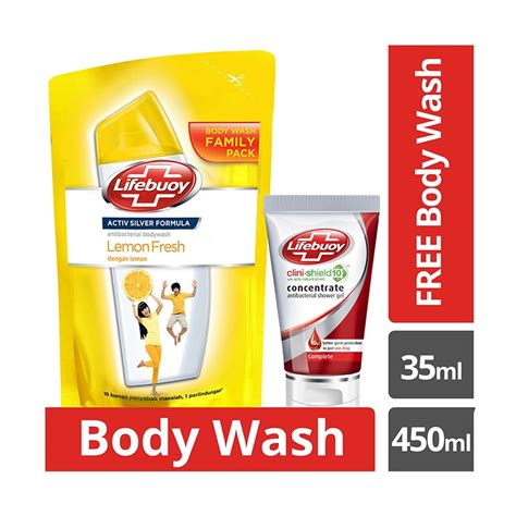 jual lifebuoy lemon fresh refill sabun cair 450 ml free lifebuoy complete gel wash 35