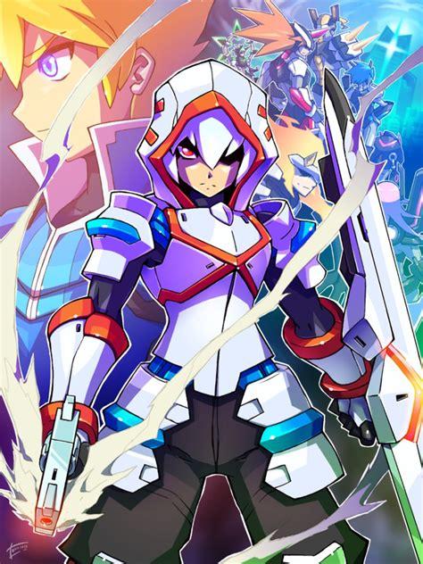 Kaos Seven 8bit Megaman 2 acura azure striker gunvolt by tomycase on deviantart