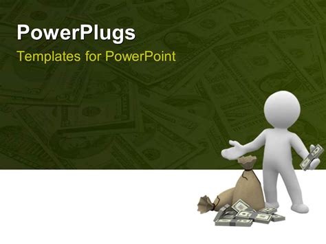 powerpoint template buy powerpoint template humanoid holding dollars with some