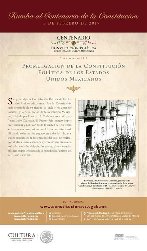 1917 constituci n pol tica de los estados unidos mexicanos promulgaci 243 n de la constituci 243 n pol 237 tica de los estados