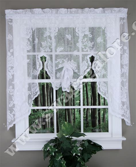 lace curtains swags galore curtains abbey rose crushed lace curtain swagger white by