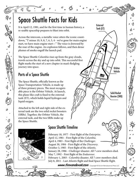 Space Shuttle Facts for Kids Handout - Tim's Printables
