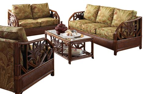 cancun palm tropical rattan and wicker 4 piece bedroom cancun palm 5 piece tropical rattan living room set by