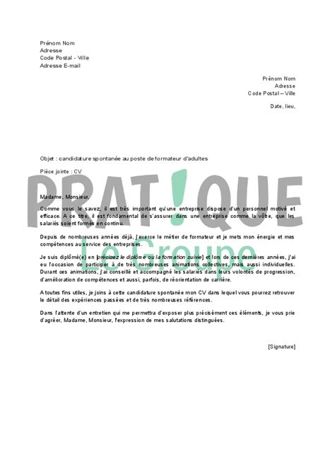 Exemple Lettre De Motivation Candidature Spontanée Educateur Demande D Emploi Spontan 233 Banque Employment Application