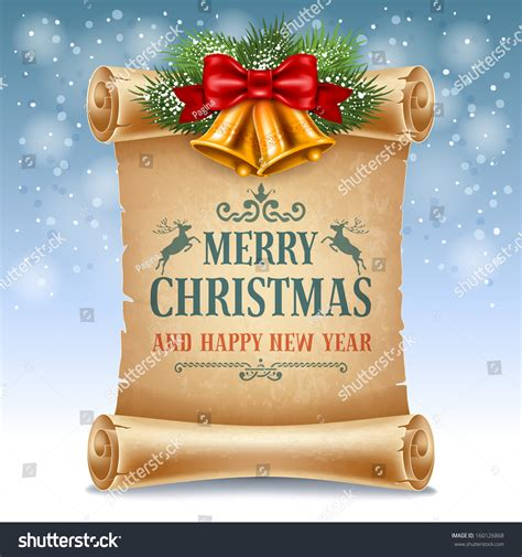 merry christmas greeting card  golden jingle bells   scroll paper stock vector