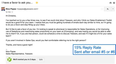 4 Sales Follow Up Email Templates That Get Replies Yesware Blog Selling Email Template