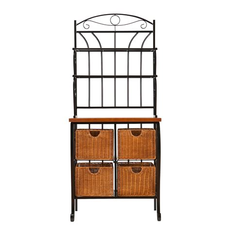 Kitchen Bakers Rack Cabinets Black Iron Bakers Rack Southern Enterprises Baker S Racks Kitchen Dining