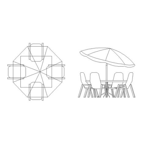 Free CAD symbol patio table and chairs   cadblocksfree