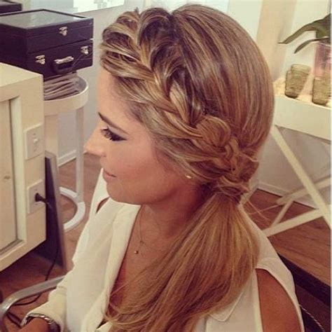 french braid low side elegant ponytail hairstyles