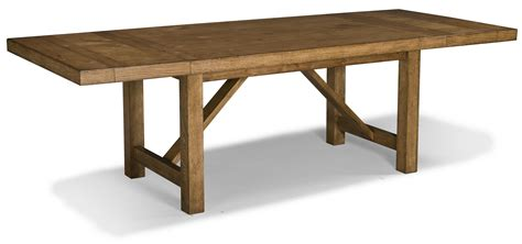 Classic Old And Vintage DIY Long Solid Wood Trestle Dining Table With Leaf For Rustic Farmhouse