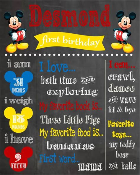 mickey mouse printable birthday chalkboard poster