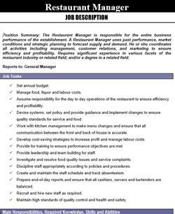Dining Room Supervisor Job Description download library restaurant management for restaurant