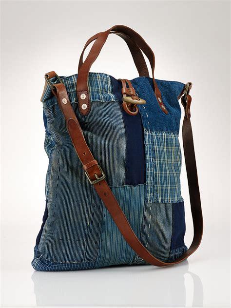 Jean Handbags Handmade - polo ralph patchwork cross bag in blue for