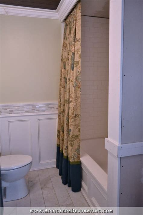 shower curtains for walk in showers diy decorative shower curtain finished and installed