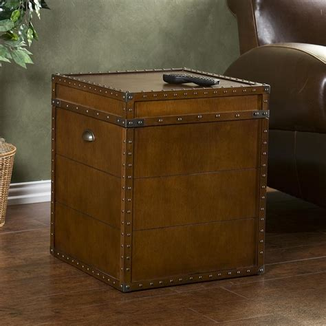 Trunk Side Table Home Decorators Collection Steamer Trunk Walnut Trunk End Table Oc4190 The Home Depot