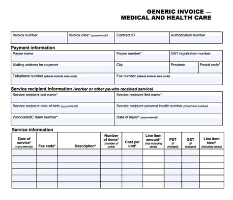 medical invoice template 8 free sles exles format