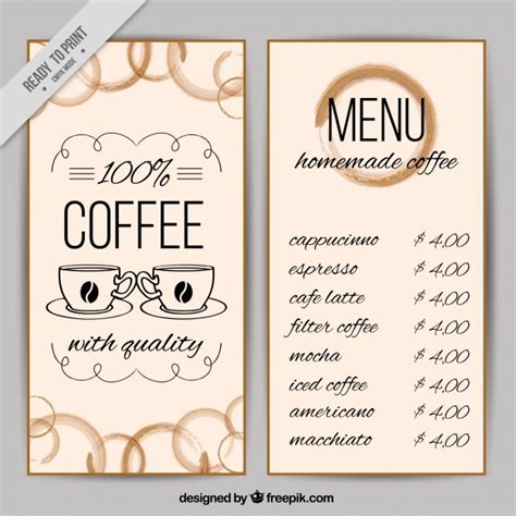 horizontal menu templates free coffee shop menu template vector free