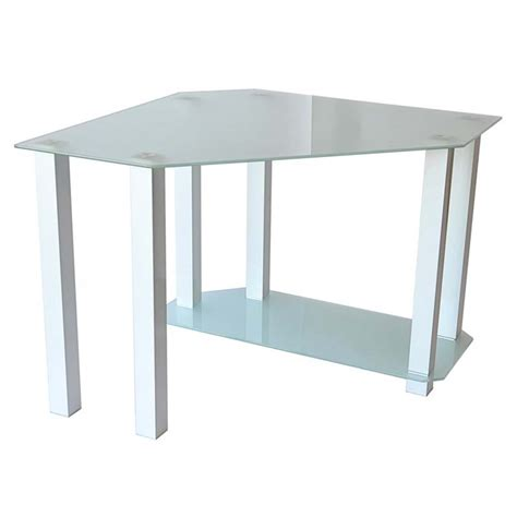 corner glass desk rta frosted glass corner computer desk white ct 013w