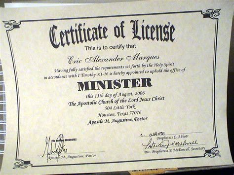 printable minister license certificate myideasbedroom com