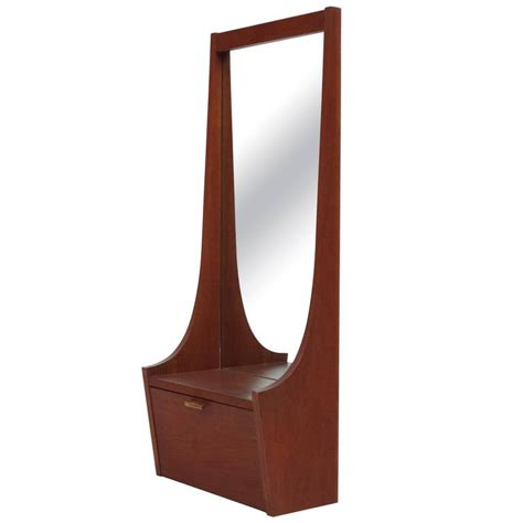 mid century modern entryway mirror with shelf and cabinet