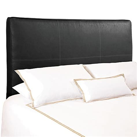 Black Leather Headboard Backdrop Avalon Black Distressed Faux Leather Upholstered Headboard Bed Bath Beyond