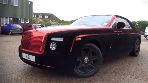 rolls royce gold and red rolls royce phantom coupe wrapped in velvet and red chrome