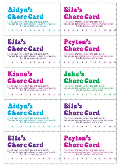 Chore Punch Card Template by Gingerbabymama Chore Cards