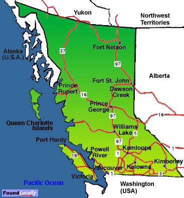 bc canada map columbia map