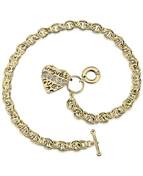 guess gold tone charm link toggle necklace in