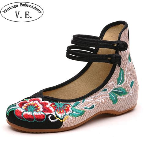 china flats shoes flats peking shoes flat heel with flower