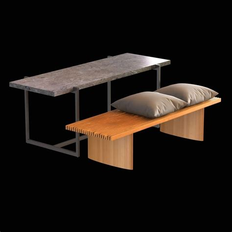 stone bench and table wood bench with cushions and stone table 3d model max