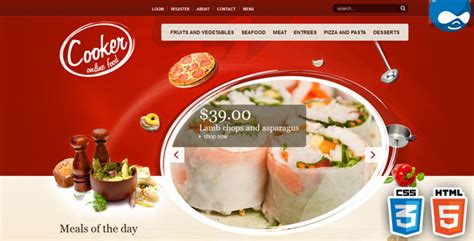 html themes restaurant free download cooker html5 css3 drupal theme by tabvn themeforest