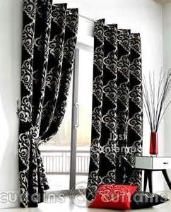 damask black and silver designer eyelet ring top curtains