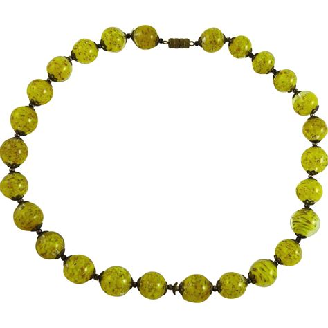 murano glass bead necklace vintage murano glass bead necklace yellow from ornaments