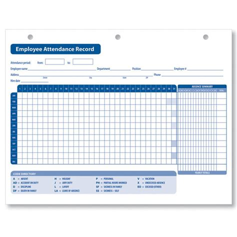 attendance history card free template search results for calendar attendance register