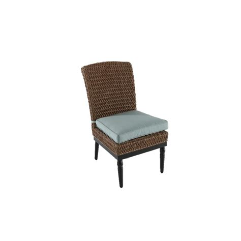 Home Decorators Dining Chairs Home Decorators Collection Camden Light Brown Wicker Outdoor Armless Dining Chair With Sunbrella