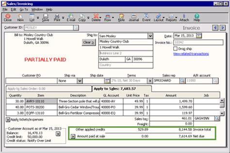 sle invoice memo sage 50 learning sales returns